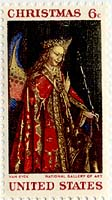 1968 Christmas stamp, Jan van Eyck, The Annunciation (angel detail)