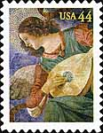 2010 Angel with Lute stamp, fresco by Melozzo da Forli
