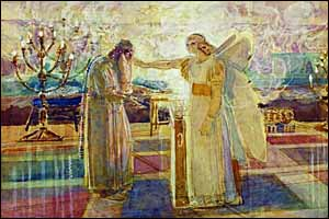 Alexander Ivanhov, 'The Angel Gabriel Stikes Zechariah Mute' (1824), watercolor and white pencil on yellow paper, 26x39 cm, State Tretyakov Gallery, Moscow.