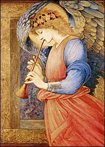 Edward Burne-Jones, 'An Angel Playing a Flageolet' (1878) tempera and gold paint on paper, Sudley House, Liverpool, England.