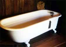 Bathtub symbolizes cleansing pictured by baptism by immersion