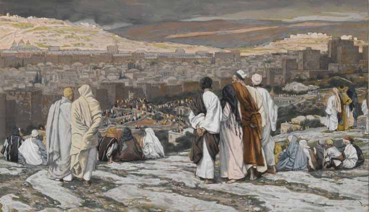 Tissot, The disciples, having left their hiding place, watch from afar