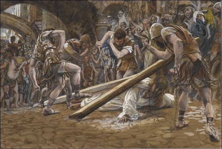 Tissot, Jesus Falls Beneath the Cross
