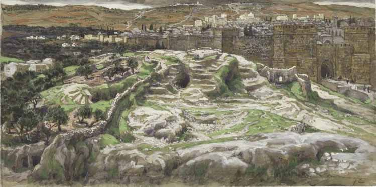 Reconstruction of Golgotha and the Holy Sepulchre Seen from the Wall of Herod's Palace