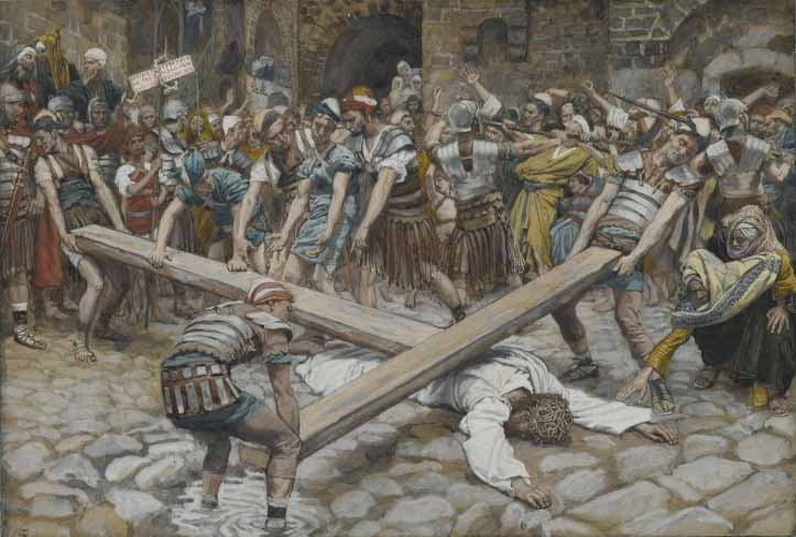 Tissot, Simon the Cyrenian Compelled to Carry the Cross with Jesus