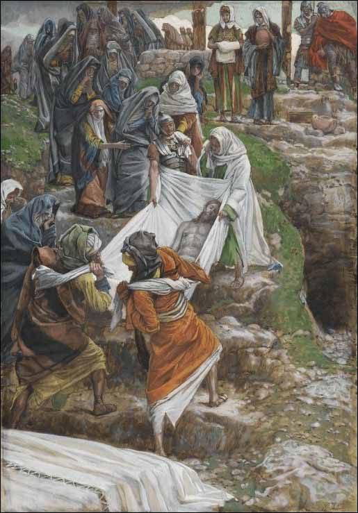 Tissot, The body of Jesus is carried to the anointing stone