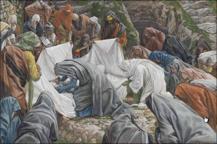 Tissot, The Holy Virgin kisses the face of Jesus before it is wrapped in the winding-sheet