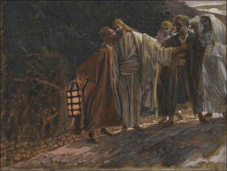 Tissot, Judas Betrays Jesus with a Kiss