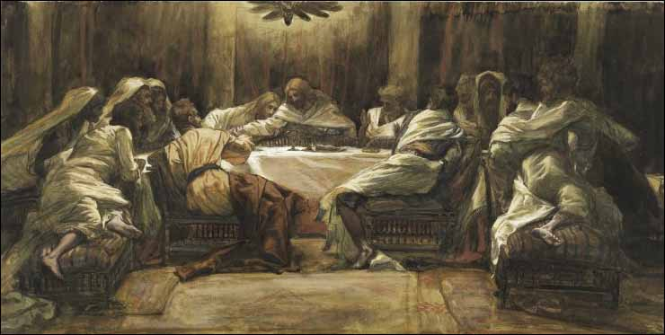 Tissot, The Last Supper: Judas dipping his hand in the dish