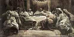 James J. Tissot, 'The Last Supper: Judas Dips Bread into the Bowl' (1896), Brooklyn Museum, watercolor.