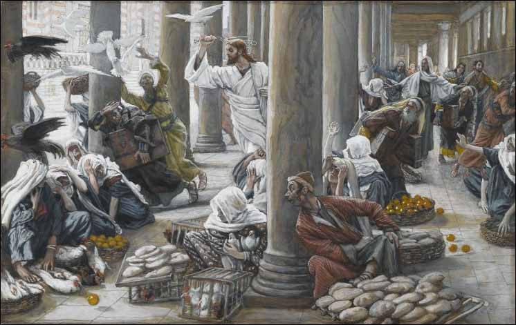 Tissot, Jesus Chases the Merchants and Money Changers from the Temple, thus Cleansing the Temple