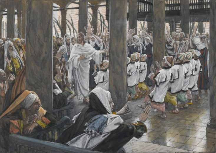 Tissot, The Palm Sunday Procession in the Temple
