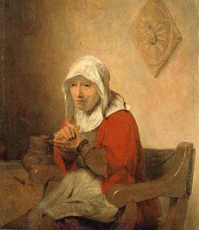 Aert de Gelder (Dutch painter, 1645-1727), Old Woman Praying (c.