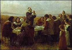 Detail from 'The First Thanksgiving' (1914) by Jennie Augusta Browscombe (1850-1936)